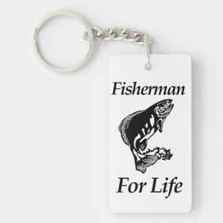 Fisherman For Life Double-Sided Rectangular Acrylic Keychain