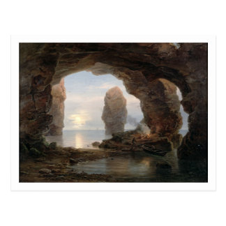 Fisherman in a Grotto, Helgoland, 1850 (oil on can Postcard