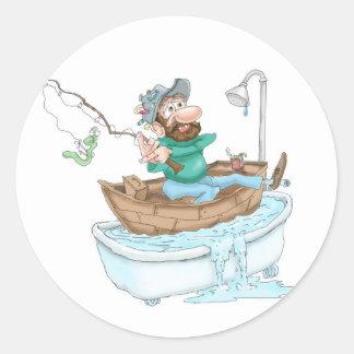 Fisherman in a tub classic round sticker