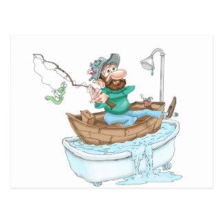 Fisherman in a tub postcard