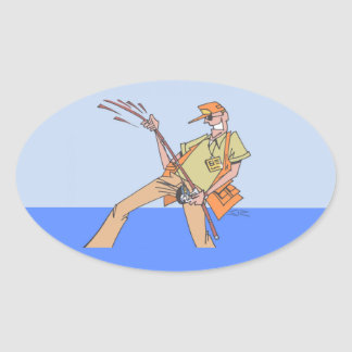 Fisherman Inside oval stickers