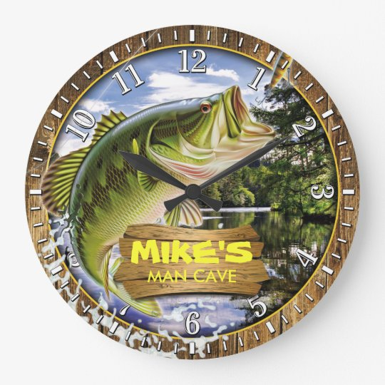 Fisherman Man Cave Bass Lure Personalizable Clock