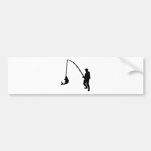 Fisherman rod bumper sticker