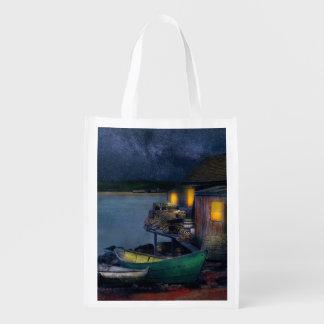Fisherman - The Fisherman's Cabin 1915 Reusable Grocery Bag
