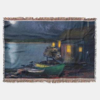 Fisherman - The Fisherman's Cabin 1915 Throw Blanket