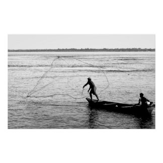 Fisherman Throwing Net, Amazon River Poster