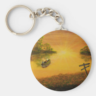"""Fisherman's Alley"" by Jack Lepper Basic Round Button Keychain"