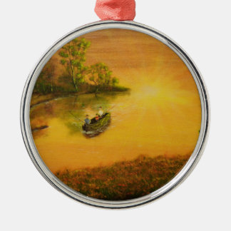 """Fisherman's Alley"" by Jack Lepper Silver-Colored Round Ornament"