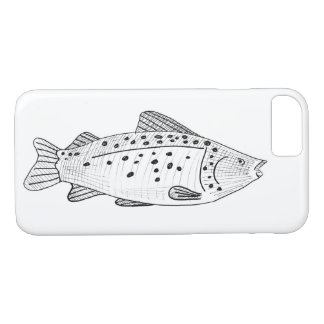 Fisherman's iphone 7 case hand drawn fish sketch