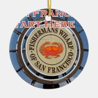 Fishermans Wharf San Francisco California USA CA Round Ceramic Ornament