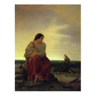 Fisherman's Wife Mourning on the Beach Postcard