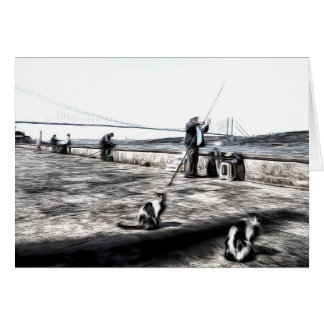 Fishermen And Cats Istanbul Art Card