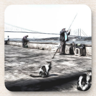 Fishermen And Cats Istanbul Art Coaster