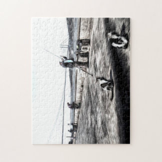 Fishermen And Cats Istanbul Art Jigsaw Puzzle