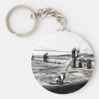 Fishermen And Cats Istanbul Art Keychain