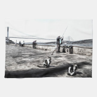 Fishermen And Cats Istanbul Art Kitchen Towel