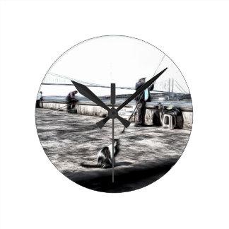 Fishermen And Cats Istanbul Art Round Clock