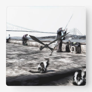 Fishermen And Cats Istanbul Art Square Wall Clock
