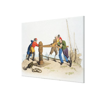Fishermen at a Capstan, from 'Costume of Great Bri Canvas Print