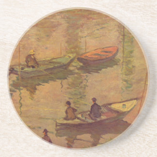 Fishermen fishing river Seine at Poissy by Monet Coaster