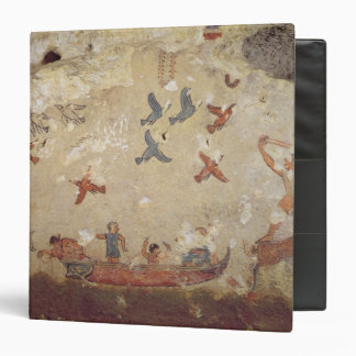 Fishermen in a boat and birds flying 3 ring binder