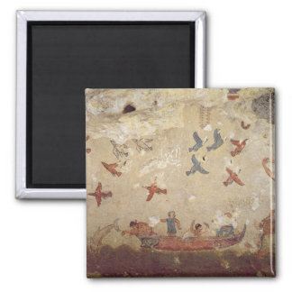 Fishermen in a boat and birds flying square magnet