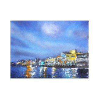 Fishernan's Village at Night Canvas Print