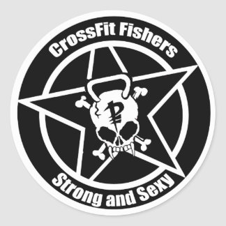 Fishers sticker, skull, strong and sxy classic round sticker