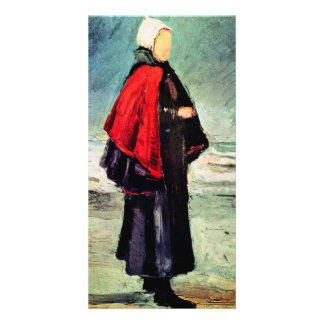 Fisherwoman on the shore by Vincent van Gogh Photo Greeting Card
