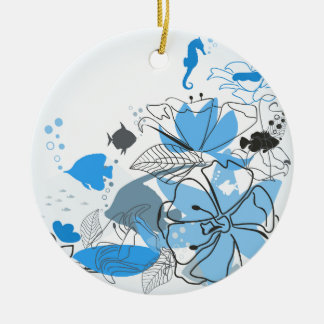 Fishes a flower ceramic ornament