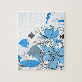 Fishes a flower jigsaw puzzle