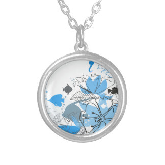 Fishes a flower silver plated necklace