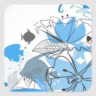 Fishes a flower square sticker