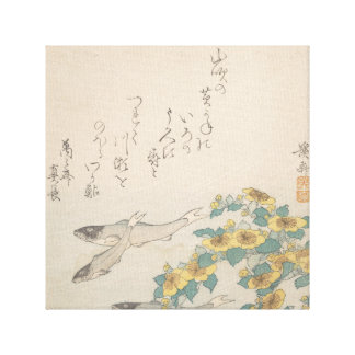 Fishes Swimming with Yellow Flowers Canvas Print