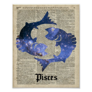Fishes Vintage Collage Over Old Dictionary Page Poster
