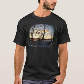 Fisheye snowy morning sunrise T-Shirt