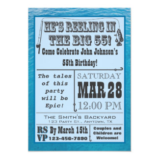 Fishing 55th Birthday Invitation with Water