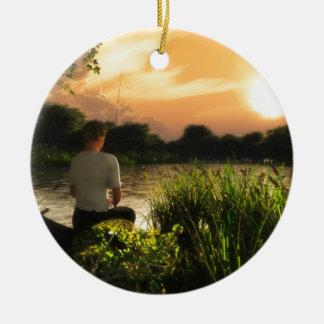 Fishing Alone Round Ceramic Ornament