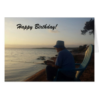 Fishing at Sunrise Birthday Card