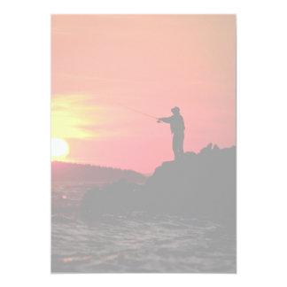 Fishing at sunset, Hockamok Head, Swans Island, Ma Card