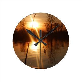 Fishing At Sunset Round Clock