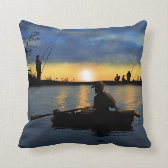"Fishing at Sunset Throw Pillow 16"" x 16"""