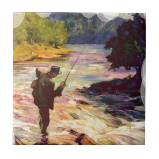 Fishing at the bend in the river ceramic tiles