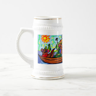fishing bears art beer stein
