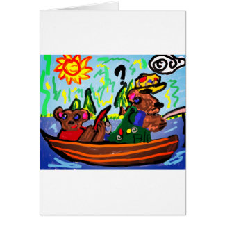 fishing bears art card