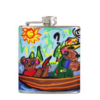 fishing bears art hip flask