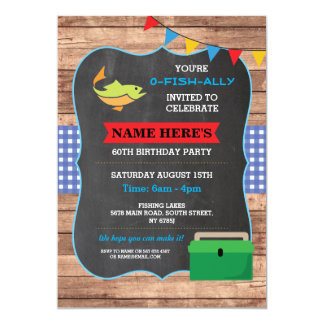 Fishing Birthday Party Rustic Wood Fish 60 Invite
