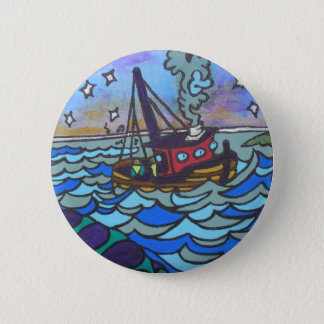 Fishing Boat 2 Inch Round Button