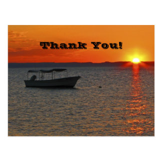 Fishing Boat at Sunset, Thank You Postcard