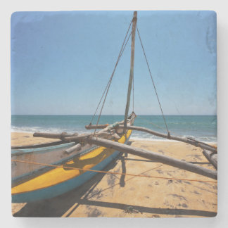 Fishing Boat Moored On Beach Stone Coaster